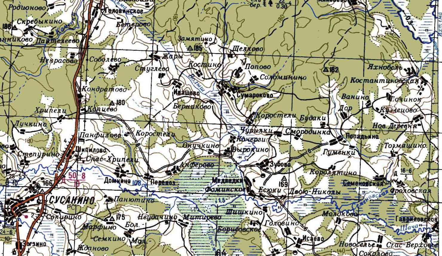 Карта Сусанинского Района Костромской
